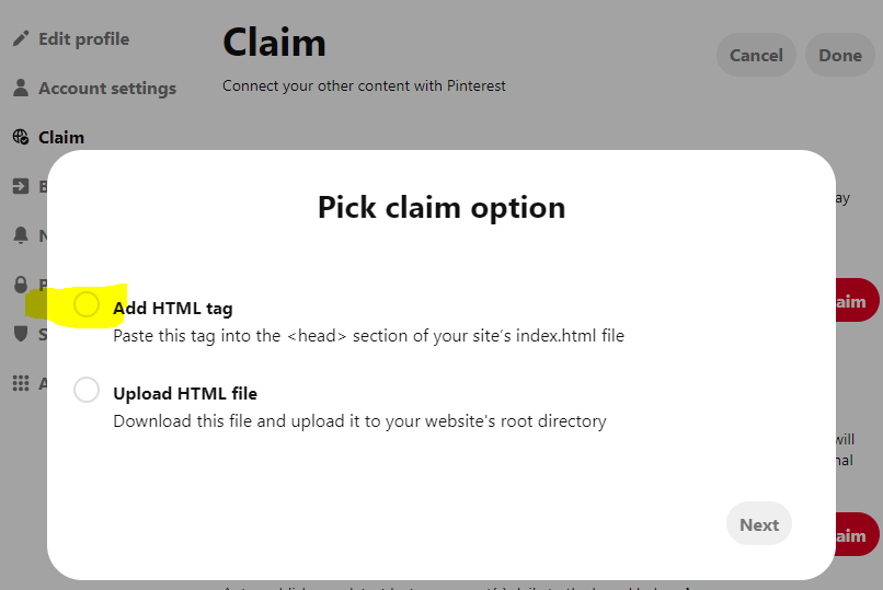 PICK-CLAIM-OPTION1 How to Claim Your Website on Pinterest (WordPress Website)